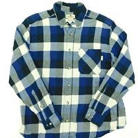 WOOLRICH Shirt Buffalo Plaid Blue White Cotton Long Sleeve Button Down Men's L