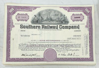 Southern Railway Company 100 Share Stock Certificate Railroad Purple