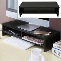 Black Computer Desktop Monitor Stand Laptop TV Display Screen Riser Shelf