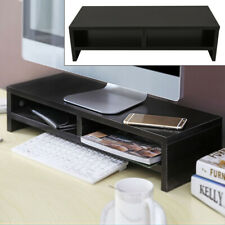 Black Computer Desktop Monitor Stand Laptop TV Display Screen Riser Shelf