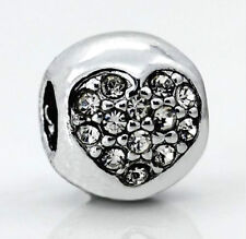 SILVER CRYSTAL LOVE HEART CHARM BEAD FOR BRACELET, NECKLACE
