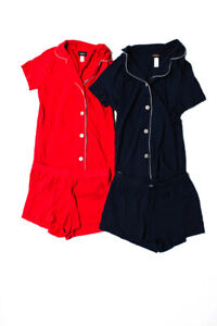 Cosabella Womens Button Down Shorts Pajama Sets Red Navy Blue Size Petite Lot 2