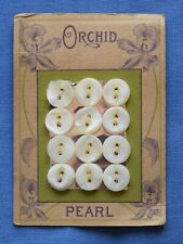 8053  Antique Orchid mother of pearl shell button card, graphic of big orchid