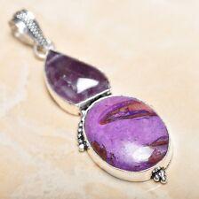 "Handmade Natural Ocean Jasper Gemstone 925 Sterling Silver Pendant 3"" #P14615"