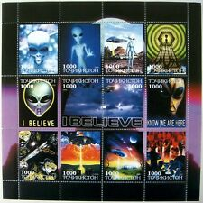 SCIENCE FICTION STAMPS ALIENS FLYING SAUCER IMITATION SHEET UFO SCI-FI SPACE