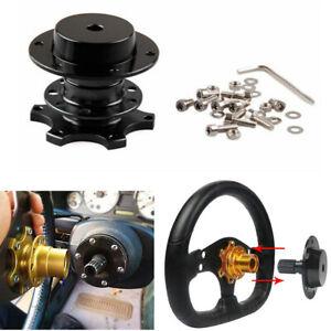 Black Universal Car Steering Wheel Quick Release Hub Adapter Snap Off Boss Kit