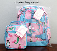 New Pottery Barn Kids Mackenzie Pink Mermaid Large Backpack + Classic Lunch Bag