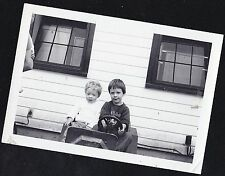 Vintage Antique Photograph Two Little Boys Riding in Toy Car / Truck in Backyard