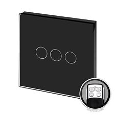 RetroTouch Touch & Remote Light Switch 3 Gang 1 Way Black Glass PG 00372