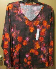 Sonoma Everyday Tee shirt Ladies 1X~2X~3X long sleeve Black Red Floral  (9-231SB