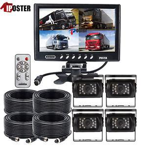 9 Inch Quad Monitor 4PIN 4CH VIDEO+4X 18 IR CCD SHARP REVERSING CAMERA TRUCK KIT
