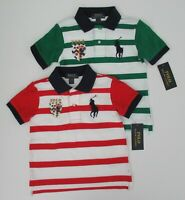 NWT Ralph Lauren Boys Short Sleeve Big Pony Striped Mesh Polo Shirt Sz 5 6 7 NEW