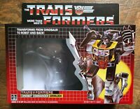 TRANSFORMERS G1 DINOBOTS GRIMLOCK BOX, MANUAL, CARDBOARD BACK, & BUBBLES NEW!