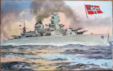 Military Ship 1940s Postcard w/Cuba Chocolate Advertising: Scharnhorst - Germany