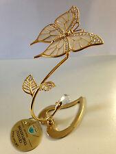 Schmetterling Herz mit Swarowski Kristallen Bestückt Gold Plattiert Liebe Neu