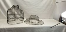 Vintage Rustic Primitive Wire Female Bust Hat display topiary garden art french
