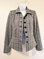 Paul Costelloe Jacket, Size XS (6-8), Cotton Rich, Black & Cream Raised Pattern