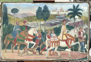 Painting ? Fragment of a Very Old Fresco ? Procession of the Magi Old Wax Lining
