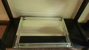 VINTAGE Godinger Silver Art Co. GLASS ROD MIRROR TRAY Vanity or home decor