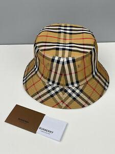 Unisex Burberry Nova Check Bucket Hat Panama Cap Beige One Size