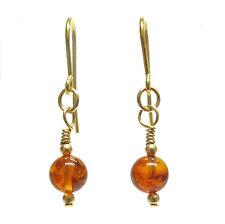 Baltic Amber 9ct Gold Earrings with Genuine Semi-precious Gemstone Beads
