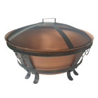 Outdoor Fire Pit Wood Burning 34 In. Cast Iron Patio w/ Mesh Guard