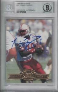 Tommie Frazier Signed Nebraska 1996 Press Pass Rookie Card BAS Slabbed 31175