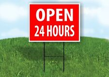 Open 24 Hours Time Red Plastic Yard Sign Road Sign with Stand