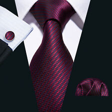 Classic Mens Silk Tie Necktie Wine Red Blue Burgundy Stripes Neck Ties Wedding
