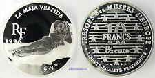 10 FRANCS , 1 1/2 EURO  ARGENT  , 1996 ,  LA MAJA VESTIDA ,  SOYA , PROOF , FDC