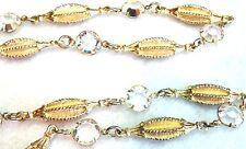 Vintage Bezel Set Swarovski Crystal & Gold Choker Necklace Estate Jewelry