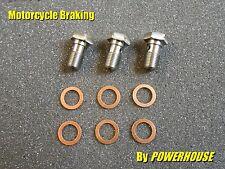 3 x Stainless steel Banjo Bolt M10 x 1.0mm Hex Honda Suzuki Ducati Aprilia KTM