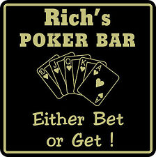 Personalized Sign Poker Game Room Bar Beer Cards Holdem Sign #8 Custom USA Made