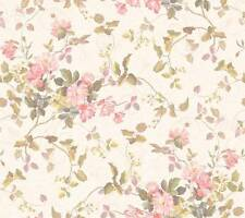 Wallpaper Floral Branch Bouquet Rose Pink Peach Flowers Ivory Background