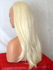 Half Wig Fall Clip In Hairpiece straight Long 3/4 wig Pale Blonde heat resist Y5