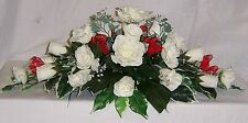 wedding flowers top table decoration red & ivory & crystals
