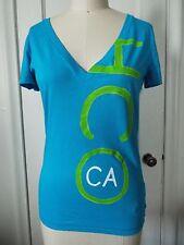 Hollister HCO CA Short Sleeve V Neck Turquoise Blue T-Shirt Large NWT