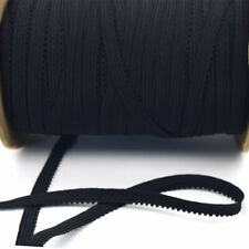 "5/16"" Fancy Picot Scalloped Braided Black Elastic Band (10 yards)"