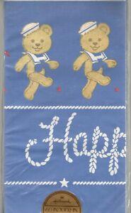 Vintage Teddy Bear Sailor Tablecover Happy Birthday Navy Blue Boy Hallmark Party