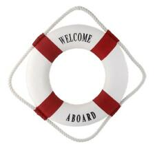 WELCOME ABOARD Nautical Wall Decor Boat Ring Life Buoy Preserver 50cm Red