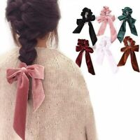 Elastic Velvet Ribbon Bow Hair Tie Rope Hair Band Scrunchies Ponytail DesignPPPP