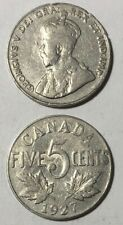 1927 ~ CANADA ~ 5 CENTS ~ GEORGE V ~ VG8 condition