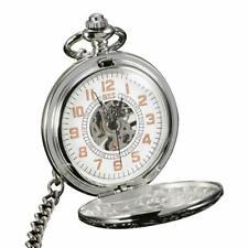 Mechanical Pocket Watch ESS Mens Hand-winding White See Through Chain Luxury