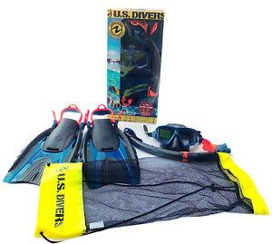 U.S. Divers Explorers Snorkeling Set Mask+Snorkel+Fins L/XL GoPro Ready NEW