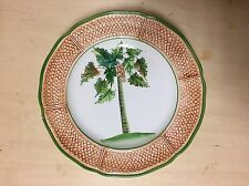Vietri Italian Art Pottery Majolica Wall Plate, Oasi Palm Tree Basketweave,