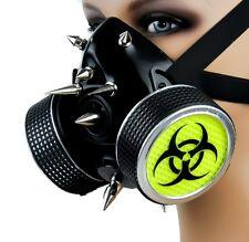 Black Yellow Bio Hazard Spike Dual Respirator Mask Cyber Gothic Rave Apocalypse