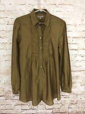 BURBERRY BRIT Womens Gold Cotton/Silk Long Sleeve Blouse SIZE M Button-Down