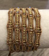 New Auth Chan Luu Golden Shadow Mix Five Wrap Bracelet on Beige Leather