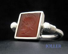 SIGNET RING CUSTOM MADE ROTATABLE HAND ENGRAVED INITIAL PLATINUM SLING BY JOLLER