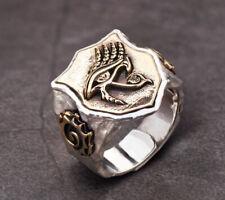 Solid 925 Sterling Silver Egyptian Mythology Eye of Horus Men's Ring M102